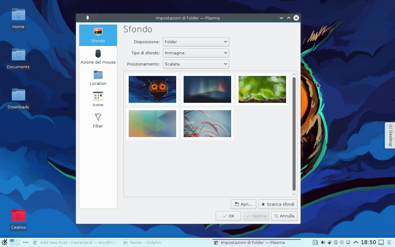 Plasma Desktop wallpaper settings